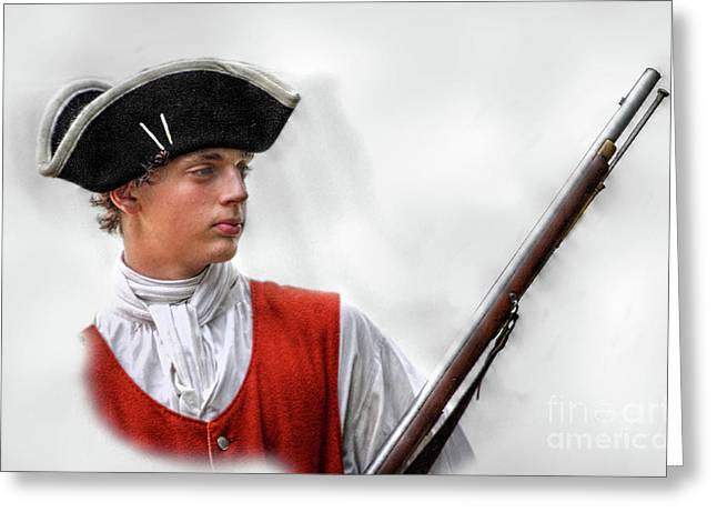 Loyalist Greeting Cards - Youthful Soldier with Musket Greeting Card by Randy Steele