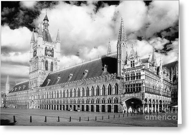 Ypres Greeting Cards - Ypres Cloth Hall Ypres Flanders Belgium Europe Black and White Greeting Card by Jon Boyes