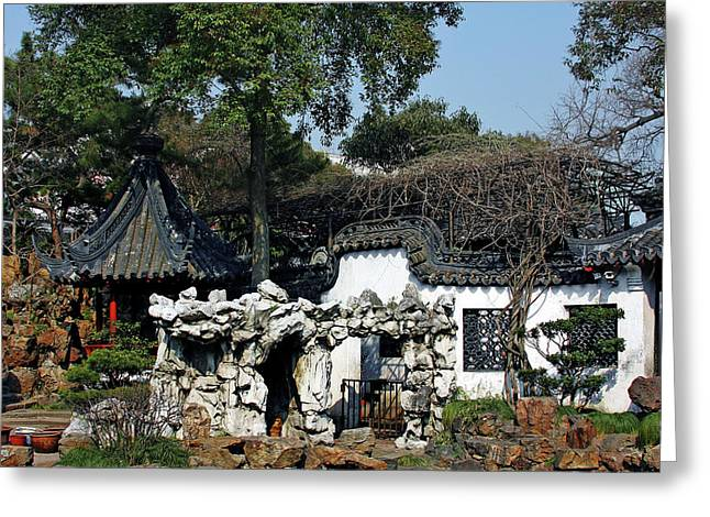 Architectural Styles Greeting Cards - Yu Yuan Garden Shanghai Greeting Card by Christine Till