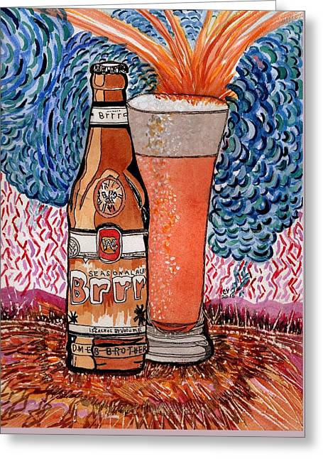 Caves Greeting Cards - Yum Burr Hyf. Beer Greeting Card by Connie Valasco