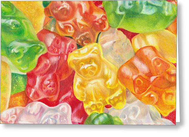 Lime Drawings Greeting Cards - Yummy Gummies For Your Tummy Greeting Card by Shana Rowe