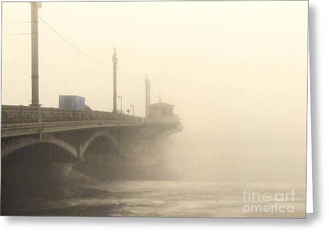In-city Pyrography Greeting Cards - YURY BASHKIN fog in the city Greeting Card by Yury Bashkin