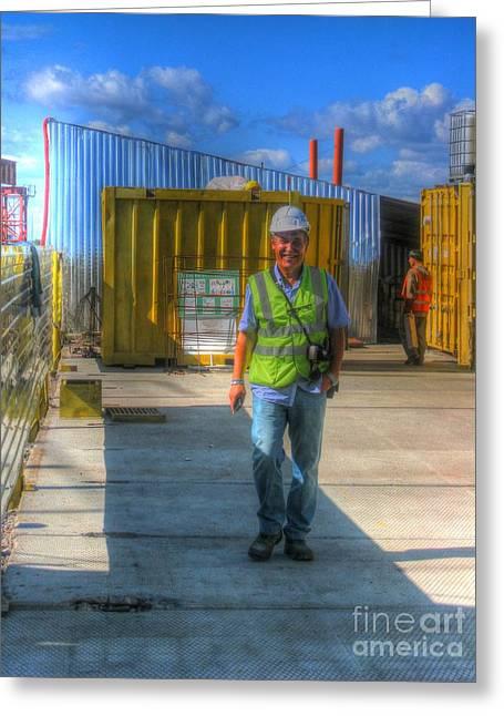 People Pyrography Greeting Cards - YURY BASHKIN I work at a construction site Greeting Card by Yury Bashkin