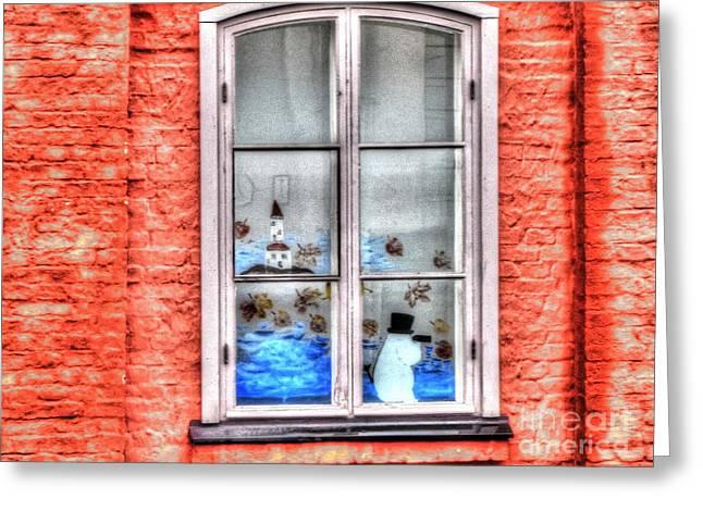 People Pyrography Greeting Cards - YURY BASHKIN in window Greeting Card by Yury Bashkin