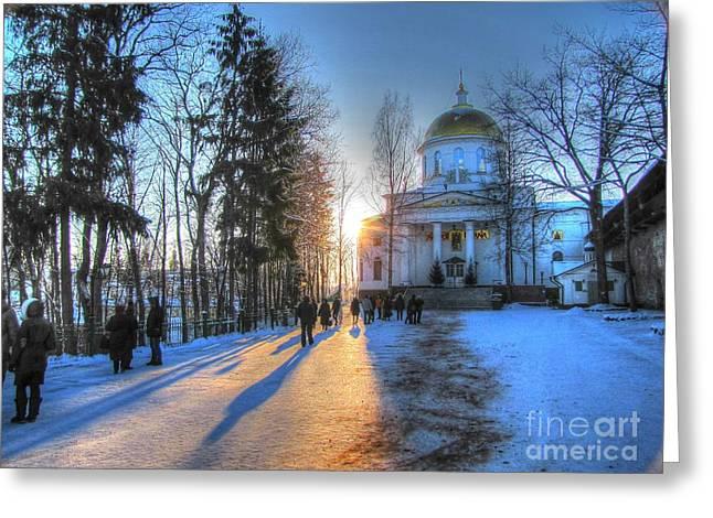 Tour Pyrography Greeting Cards - YURY BASHKIN Russian Church in winter Greeting Card by Yury Bashkin
