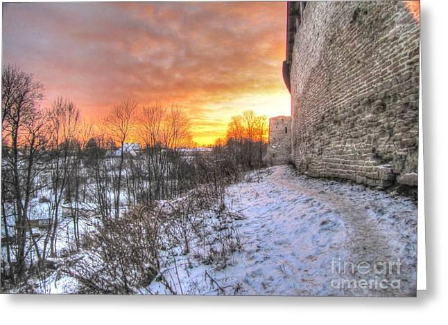 People Pyrography Greeting Cards - YURY BASHKIN sunset Pskov Greeting Card by Yury Bashkin