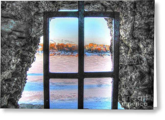 People Pyrography Greeting Cards - YURY BASHKIN window Greeting Card by Yury Bashkin