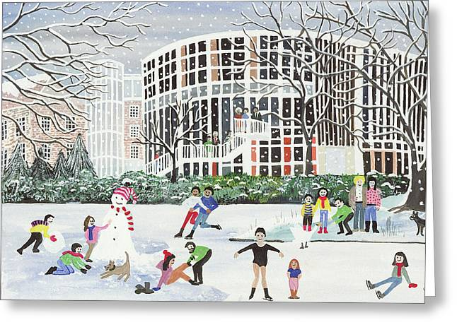 Snowman Christmas Card Greeting Cards - Yvonne Arnaud Theatre Greeting Card by Judy Joel