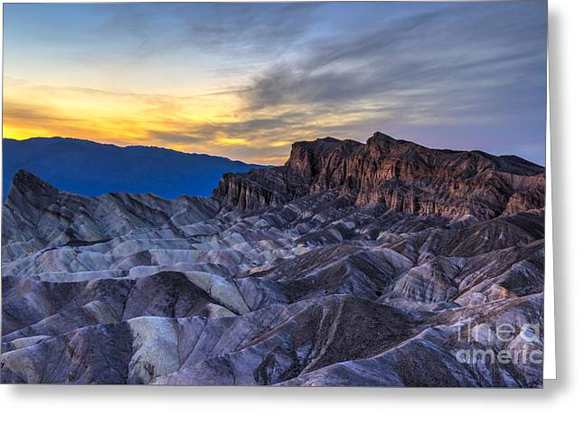 Zabriskie Point Sunset Greeting Card by Charles Dobbs