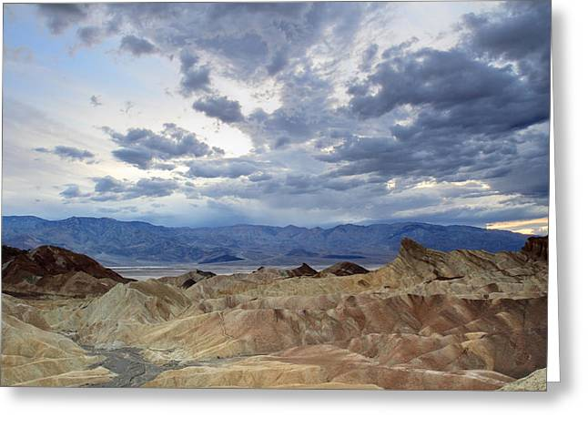 Road Trip Greeting Cards - Zabriskie point twilight Death Valley Greeting Card by Pierre Leclerc Photography