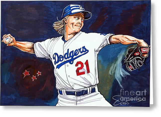 Baseball Prints Greeting Cards - Zack Greinke 2015 All Star Game Greeting Card by Dave Olsen