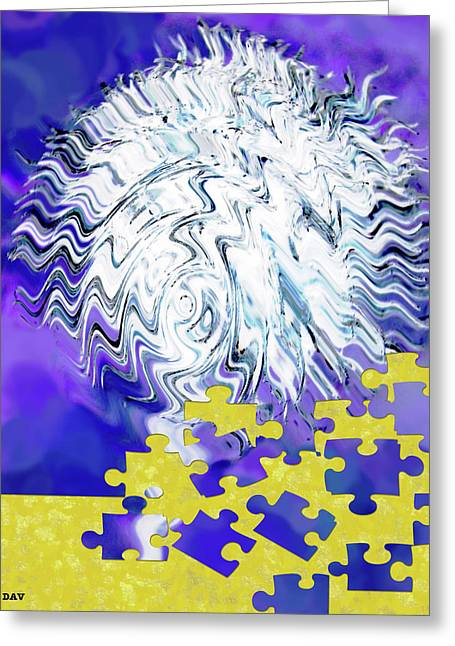 Deep Think Digital Art Greeting Cards - Zag Puzzle Greeting Card by Debra     Vatalaro