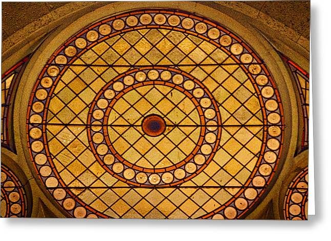 Geometric Artwork Greeting Cards - Zagreb Cathedral Stained Glass Greeting Card by Stuart Litoff