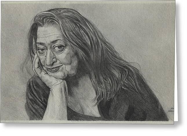 Zaha Hadid - Iraqi-british Architect - 1950 - 2016    Greeting Card by Daniil Yakubovich