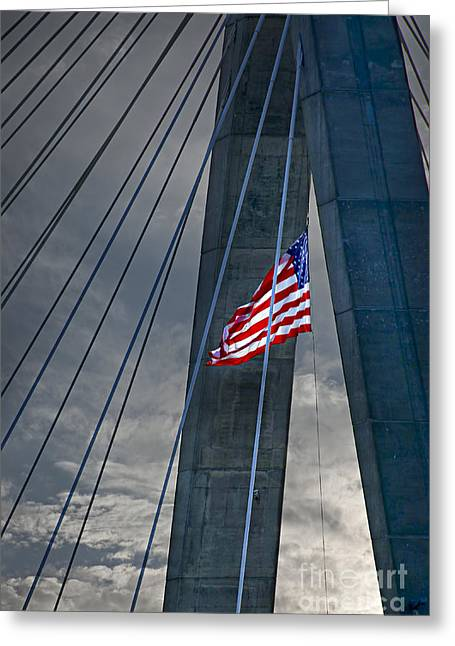 Fragment Greeting Cards - Zakim bridge Boston Greeting Card by Elena Elisseeva