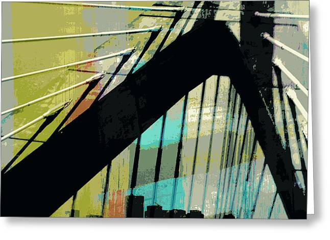 Zakim Bridge Boston V2 Greeting Card by Brandi Fitzgerald