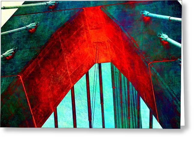Zakim Bridge Boston V5 Greeting Card by Brandi Fitzgerald