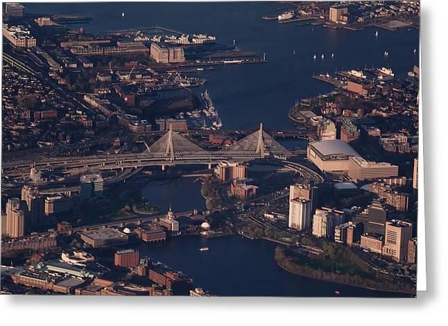 Boston Ma Greeting Cards - Zakim Bridge in Context Greeting Card by Rona Black