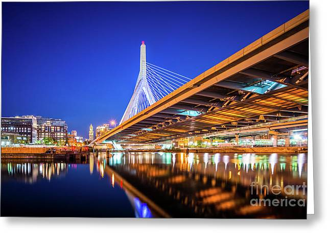 Zakim Bunker Hill Bridge At Night Photo Greeting Card by Paul Velgos