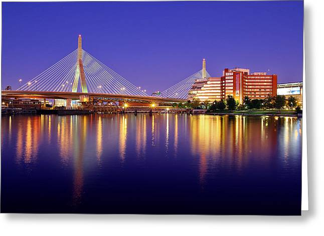 Memorial Greeting Cards - Zakim Twilight Greeting Card by Rick Berk