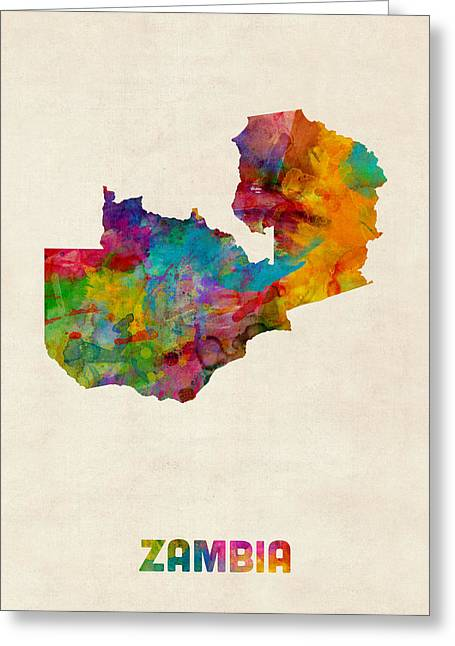 Zambia Watercolor Map Greeting Card by Michael Tompsett