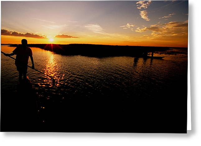 Canoe Photographs Greeting Cards - ZAMBIA Zambezi River Mokoro  Greeting Card by Julian Wicksteed