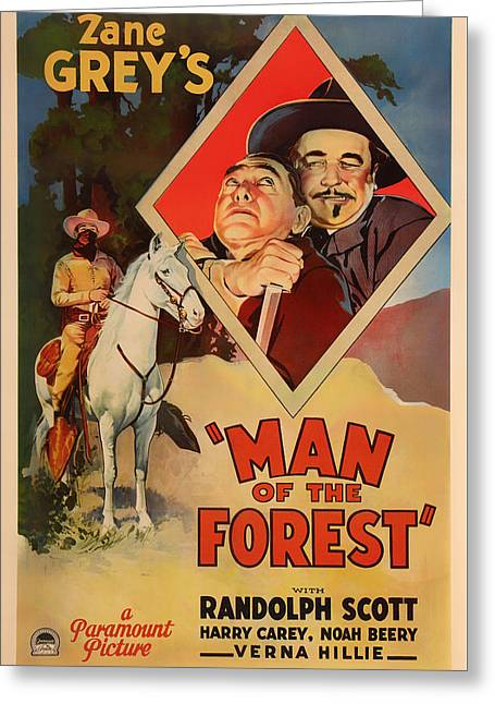 1933 Mixed Media Greeting Cards - Zane Greys Man of the Forest 1933 Greeting Card by Mountain Dreams