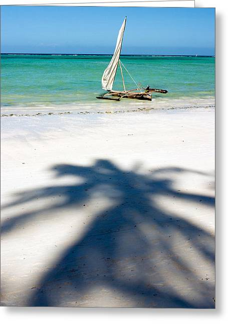 Sailboat Ocean Greeting Cards - Zanzibar Beach Greeting Card by Adam Romanowicz