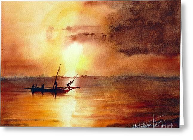 Zanzibar Sunrise Greeting Card by Mohamed Hirji