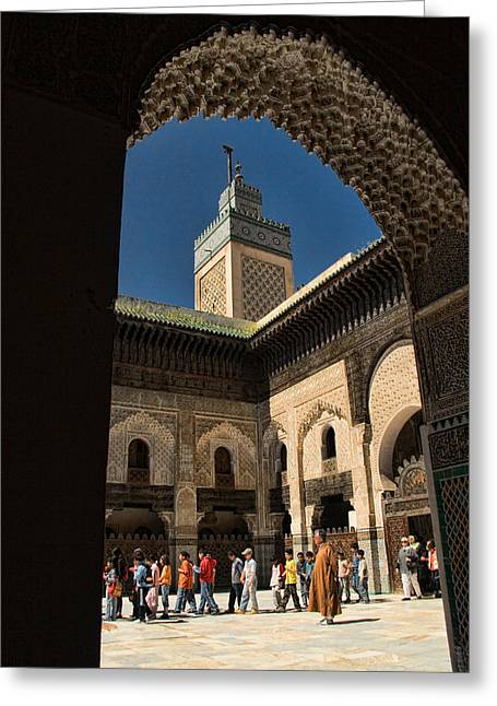 Courtyard Greeting Cards - Zaouia el Tijaniya mosque in Fes Morroco Greeting Card by David Smith