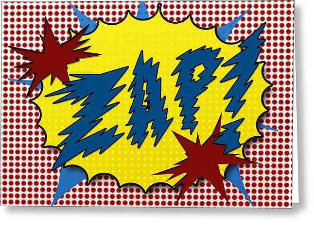 Noise . Sounds Greeting Cards - Zap Pop Art Greeting Card by Suzanne Barber