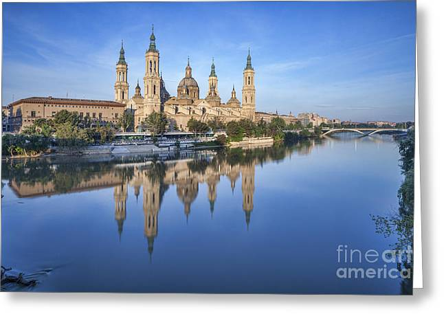 Aragon Greeting Cards - Zaragoza Reflection Greeting Card by Colin and Linda McKie