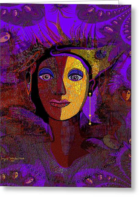 Violett Greeting Cards - Zarah with golden earring  - 194 Greeting Card by Irmgard Schoendorf Welch