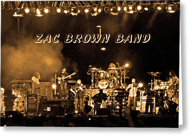 Zac Brown Band Sepia Toned Greeting Card by Marian Bell