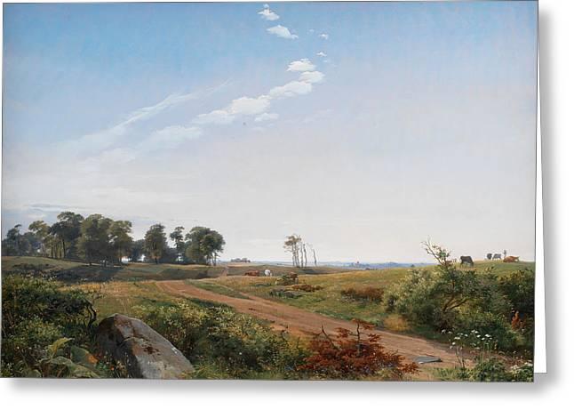 Open Land Greeting Cards - Zealand Landscape Greeting Card by Johan Thomas Lundbye