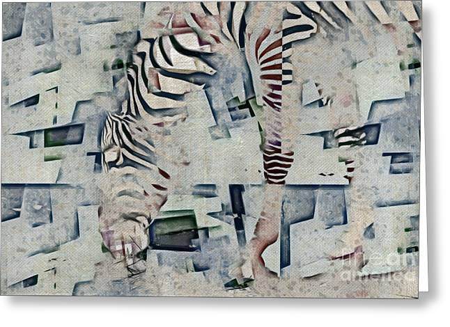 Zebra Art - 52spt Greeting Card by Variance Collections