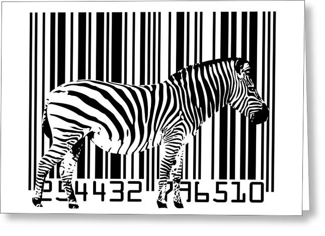 Zebras Greeting Cards - Zebra Barcode Greeting Card by Michael Tompsett