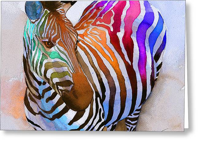Rainbow Greeting Cards - Zebra Dreams Greeting Card by Galen Hazelhofer