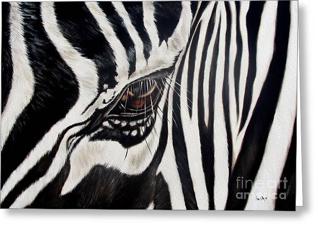 Animals Greeting Cards - Zebra Eye Greeting Card by Ilse Kleyn