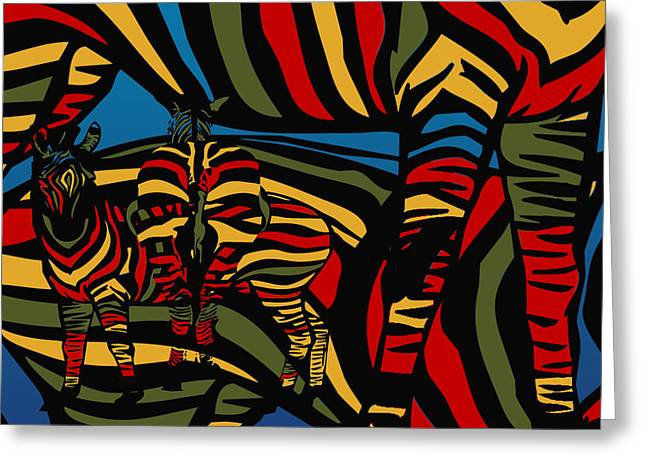 Unique Abstracts Greeting Cards - Zebra In The Jungle Greeting Card by Mark Ashkenazi