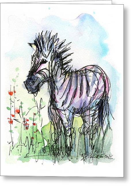 Zebras Greeting Cards - Zebra Painting Watercolor Sketch Greeting Card by Olga Shvartsur