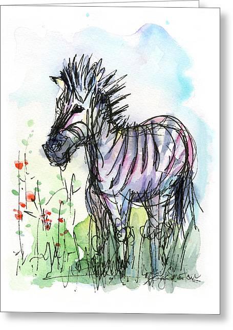 Kid Paintings Greeting Cards - Zebra Painting Watercolor Sketch Greeting Card by Olga Shvartsur