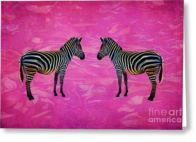 Layers Greeting Cards - Zebra Reflection Greeting Card by Terry Weaver
