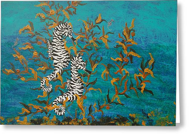 Sealife Posters Greeting Cards - Zebra SeaHorses  Greeting Card by KatNap