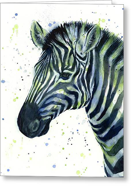 Zebra Watercolor Blue Green  Greeting Card by Olga Shvartsur