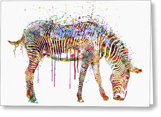 Wildlife Digital Art Greeting Cards - Zebra watercolor painting Greeting Card by Marian Voicu
