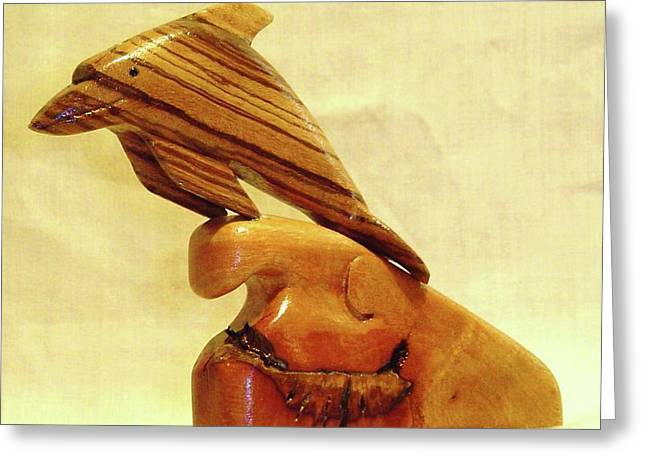 Wood Carving Sculptures Greeting Cards - Zebrab Wood Dolphin Greeting Card by Russell Ellingsworth