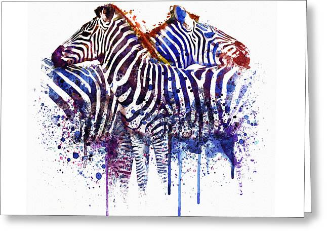 Dripping Paint Greeting Cards - Zebras in Love Greeting Card by Marian Voicu