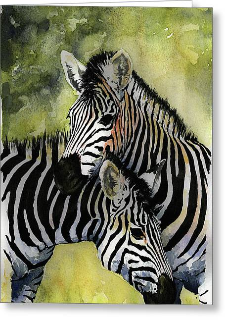Zebras Greeting Card by Roger Bonnick