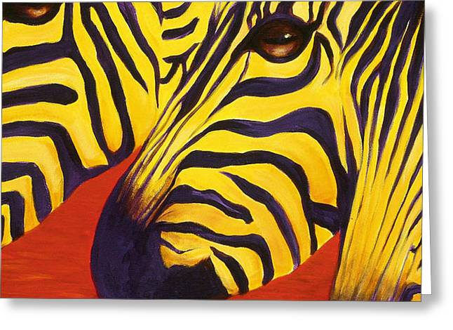 Zebras Watching Greeting Card by Sherry Leigh Williams